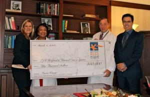 Get Your Rear in Gear - Philadelphia Founder and Executive Director Maria Grasso celebrates National Colon Cancer Awareness Month and presents check to Drs. Edith Mitchell and Scott Goldstein, Thomas Jefferson University Hospital, and Dr. Richard Pestell, Kimmel Cancer Center. The funds will go toward education, research and patient care.