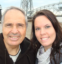 Amy and her father in at the Aerial Lift Bridge in Duluth in 2009.
