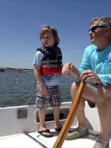 Anthony sailing with Merrick.
