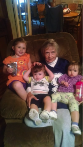 Ava with great-grandbabies. Ivey and twins Tulip and Titan.
