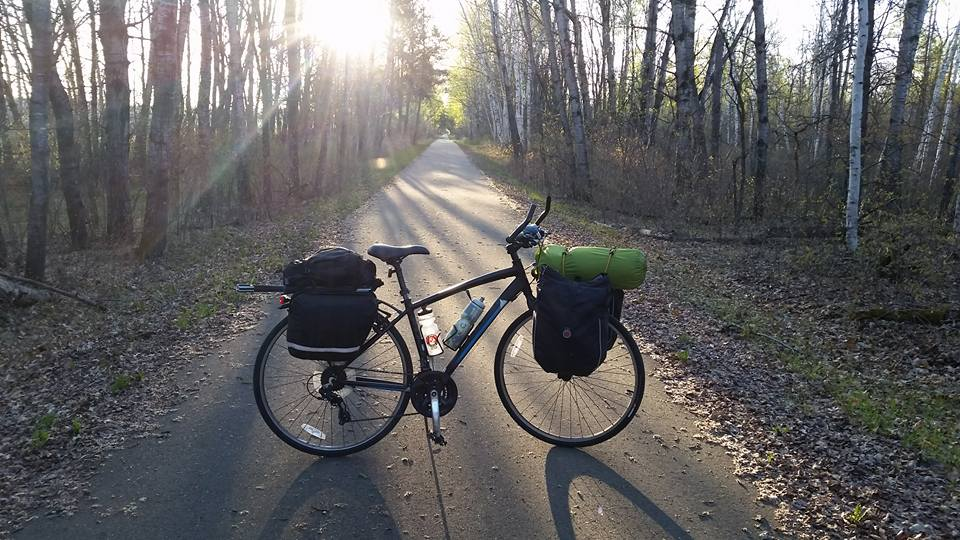 Bike on path at sunrise