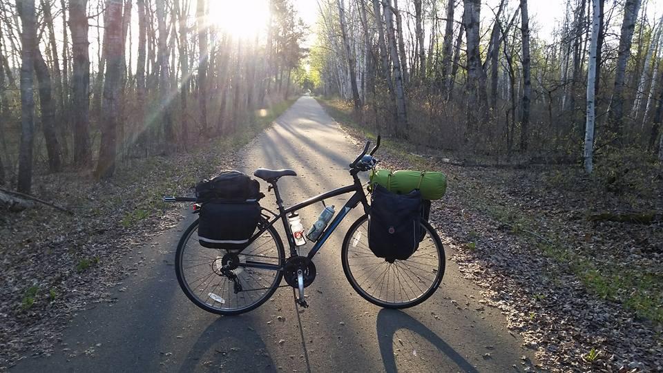 Bike on path at sunrise