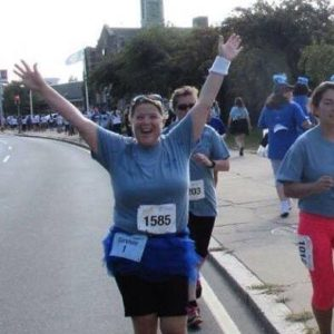 Survivor running race.