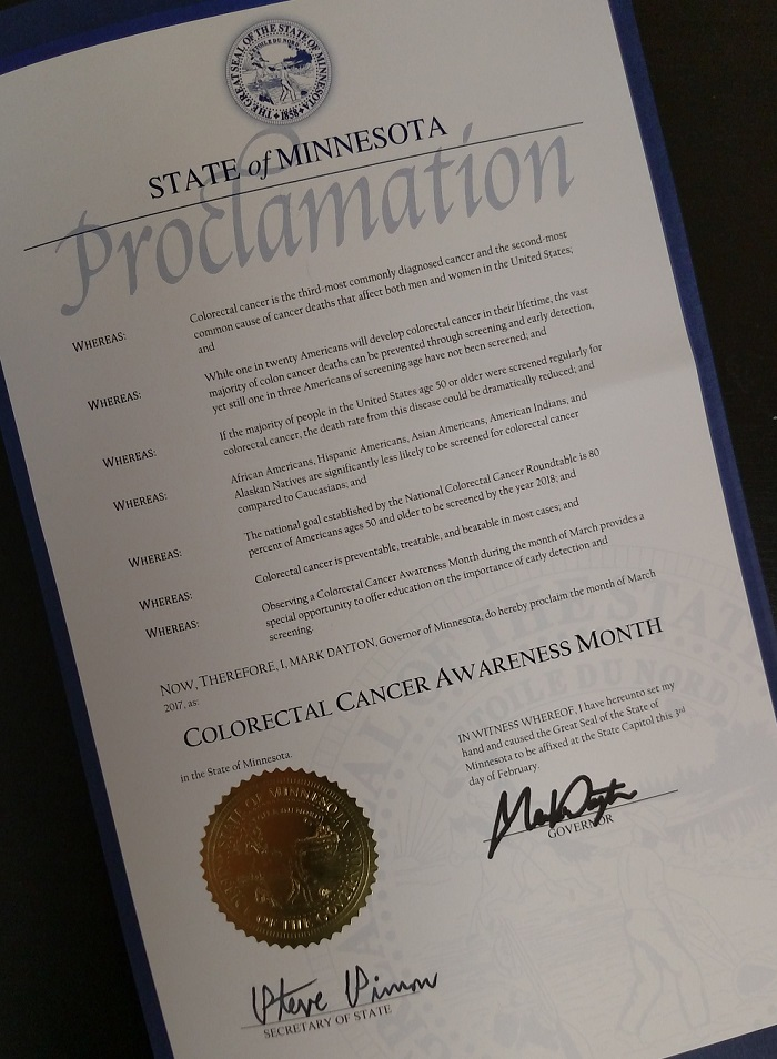 2017 Colon Cancer Awareness Month Proclamation, State of Minnesota
