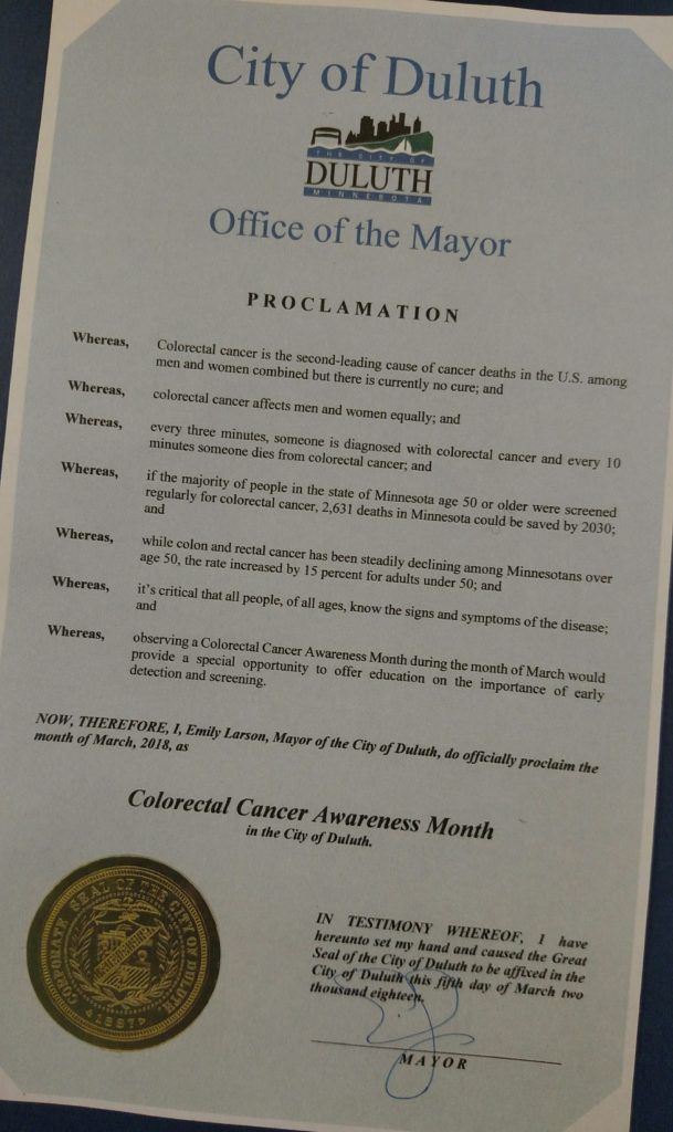 2018 Duluth Colorectal Cancer Awareness Month proclamation