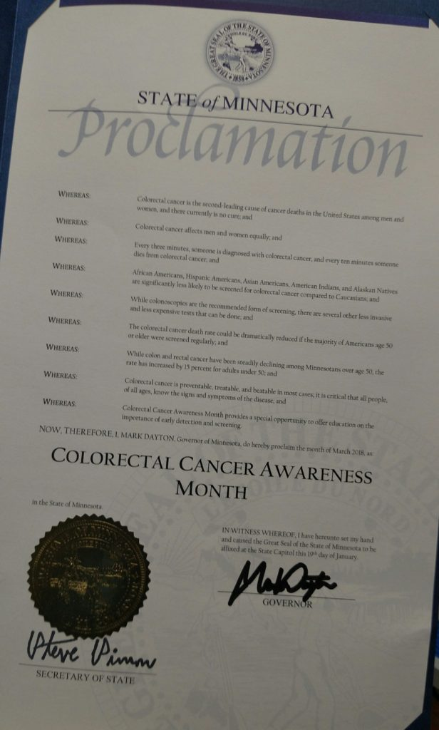 2018 Minnesota Colorectal Cancer Awareness Month proclamation