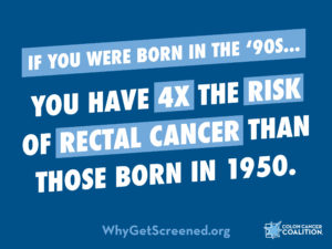 Born in 90s? 4x risk of rectal cancer