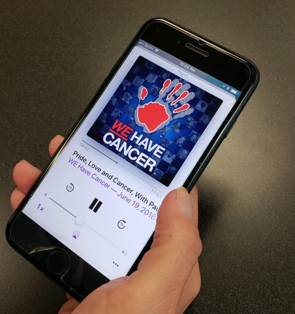 Image of WE Have Cancer Podcast on phone