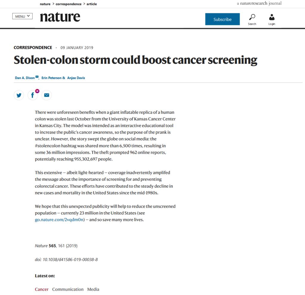Stolen Colon Screenshot Nature.com