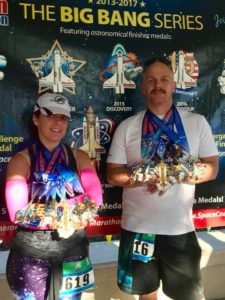 Cara and brother Clif with race medals