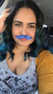 nicole lorenz blue mustache