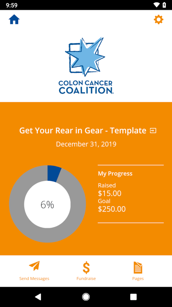 Colon Cancer Coalition Fundraising app