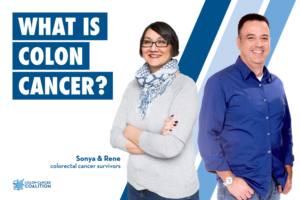 What is Colon Cancer info card features two survivors