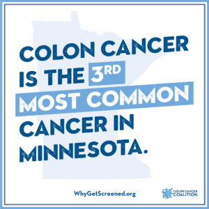 Colon cancer is the 3rd most common cancer in Minnesota