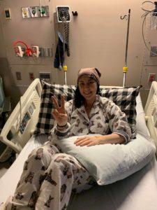 Alexa in hospital bed.
