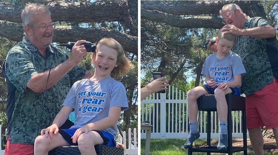 Rocker kid sheds flowing locks to honor his grandpa