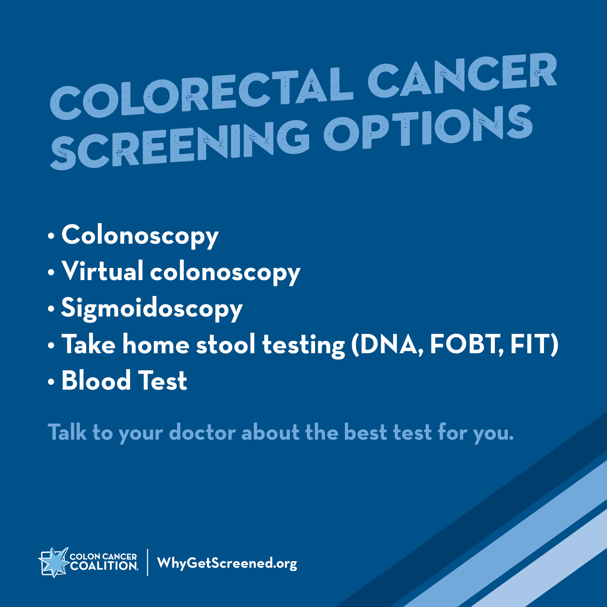 Colon Cancer Screening Options Colon Cancer Coalition